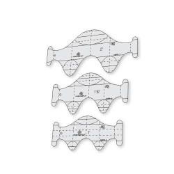 Régua Para Quilting Ondas - Kit com 3 gabaritos - 6 mm - 26488